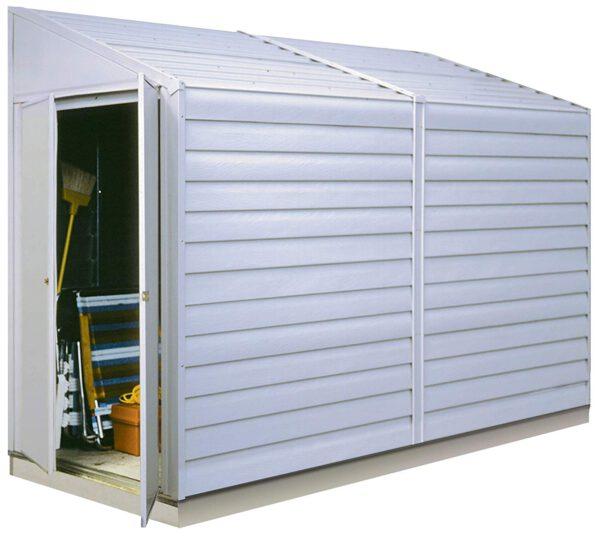 מחסן גינה צר, ממתכת לבנה, דגם: YS410-A מידה: 2.95X 1.24 מטר