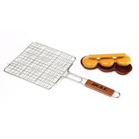 אביזר צלייה לגריל: רשת סל לצליית מיני בורגרים מנירוסטה, Stainless Mini Burger Grilling Basket, חברת BULLBBQ